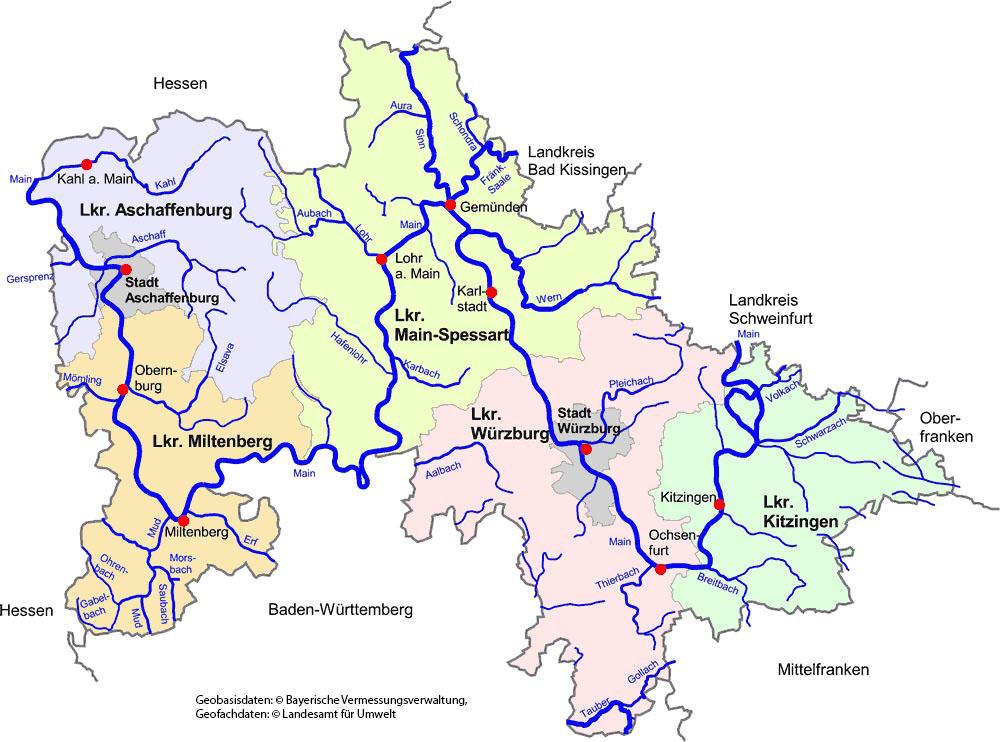Unterfranken Karte.Unser Amtsbereich Wasserwirtschaftsamt Aschaffenburg
